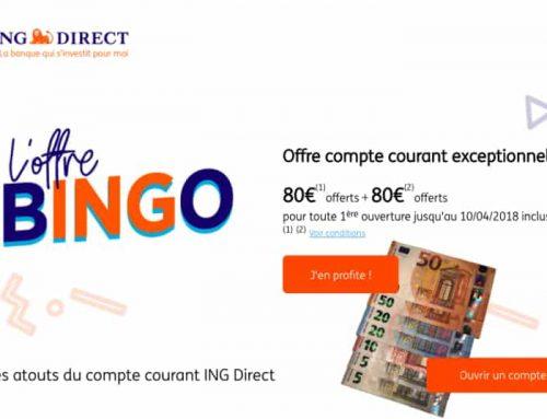 Offre de bienvenue Bingo ING Direct, 160€ offerts !