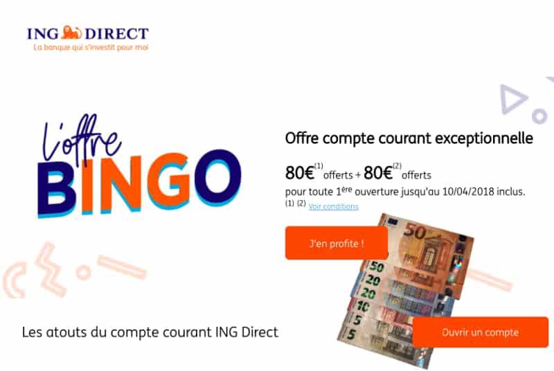 offre de bienvenue bingo ing direct 160 offerts 01 banque en ligne. Black Bedroom Furniture Sets. Home Design Ideas