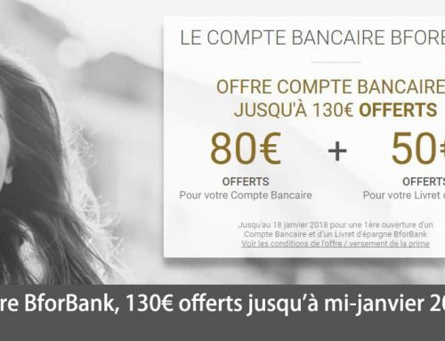 Offre BforBank, 130€ offerts jusqu'à mi-janvier 2018