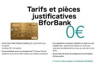 Tarifs et pieces justificatives BforBank