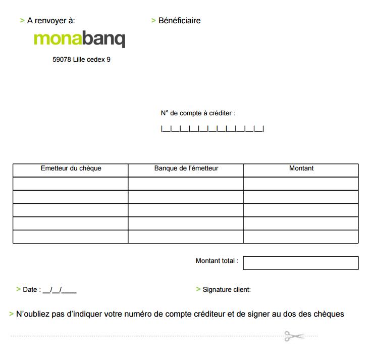 bordereau remise cheque de monabanq