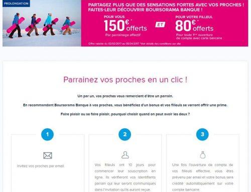 Offre parrainage boursorama banque – 150€ offerts au parrain