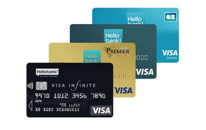 les cartes bancaires visa hello bank