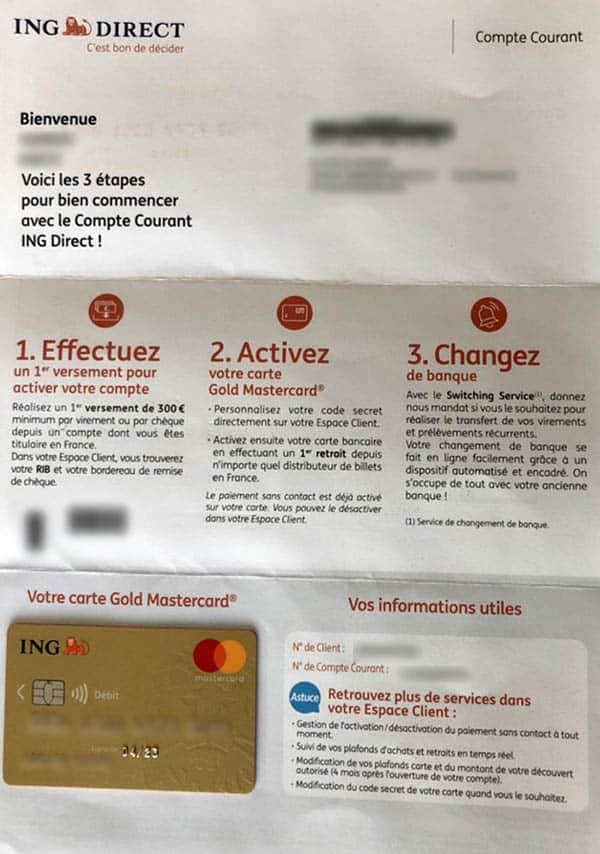 lettre de bienvenue ING Direct