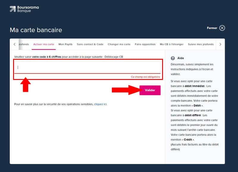 code sms pour activer carte bancaire boursorama