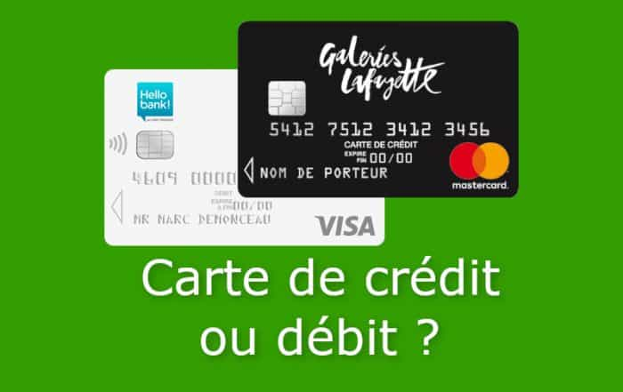 carte de credit ou carte de debit