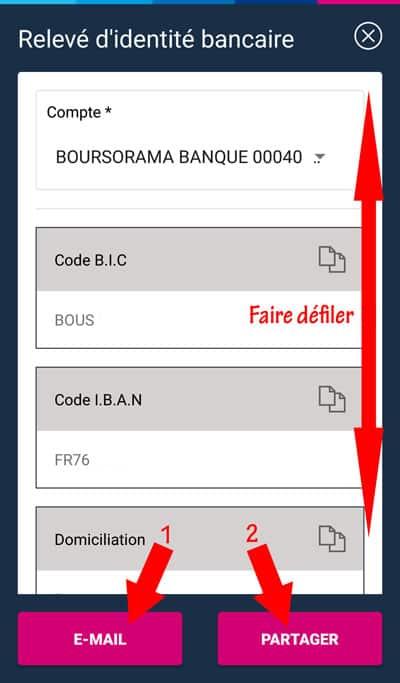 envoyer rib Boursorama mail partage smartphone