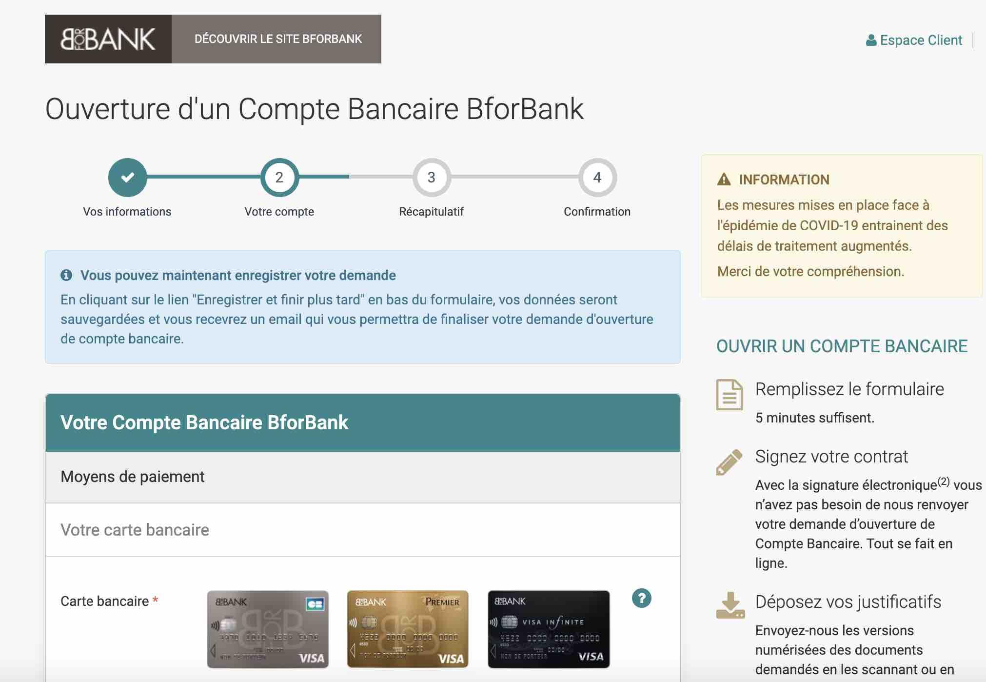 etape ouverture compte bforbank