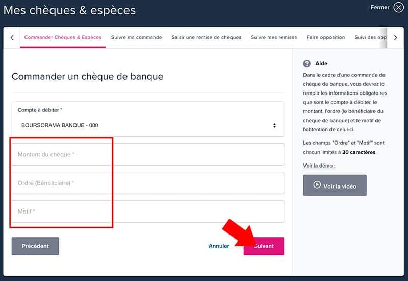 Demander Un Cheque De Banque Boursorama 01 Banque En Ligne