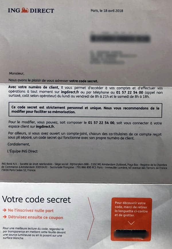 lettre avec code perso espace client ing