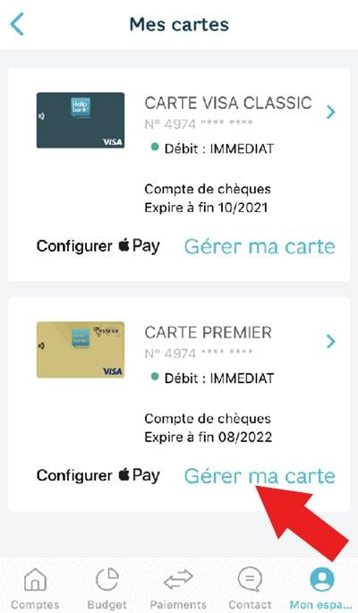 Parametrer carte hellobank smartphone gérer mes cartes