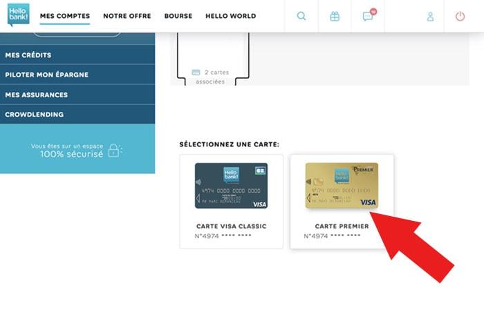 Paramétrer carte hello bank web carte