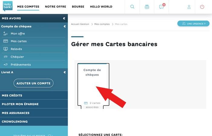 Paramétrer cartes Hello bank web compte