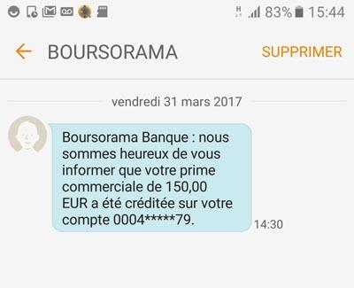 parrainage sms boursorama