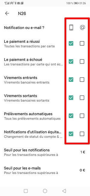 Réglages notifications n26