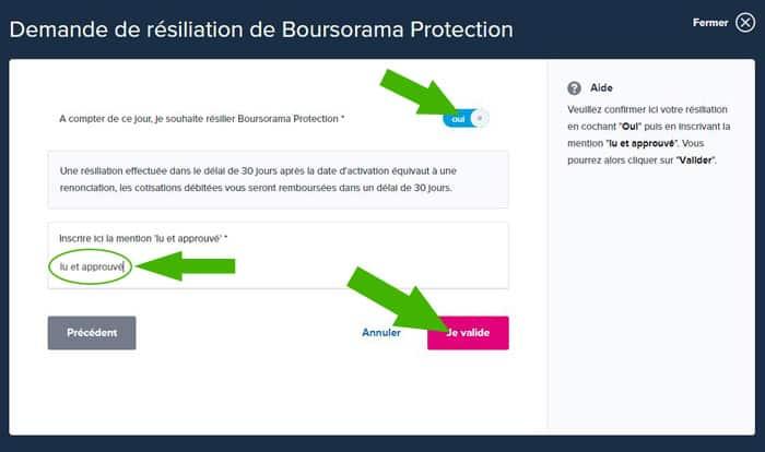résilier Boursorama protection résiliation