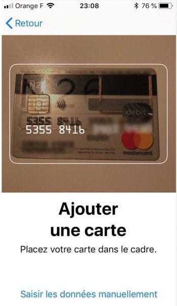 scanner votre cb dans wallet