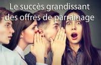 succès offre de parrainage banque