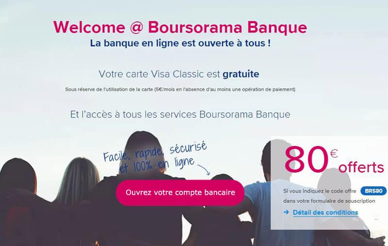 offre welcome boursorama compte gratuit sans conditions 01 banque en ligne. Black Bedroom Furniture Sets. Home Design Ideas
